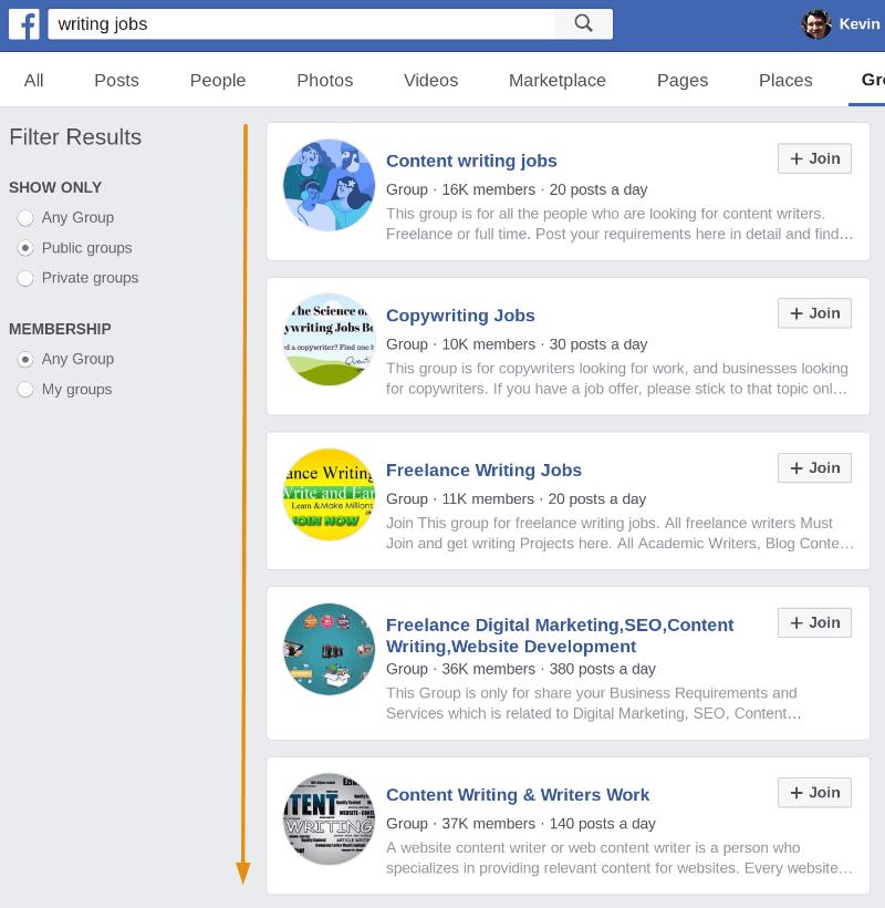 Facebook-Gruppen zum Schreiben von Aufträgen