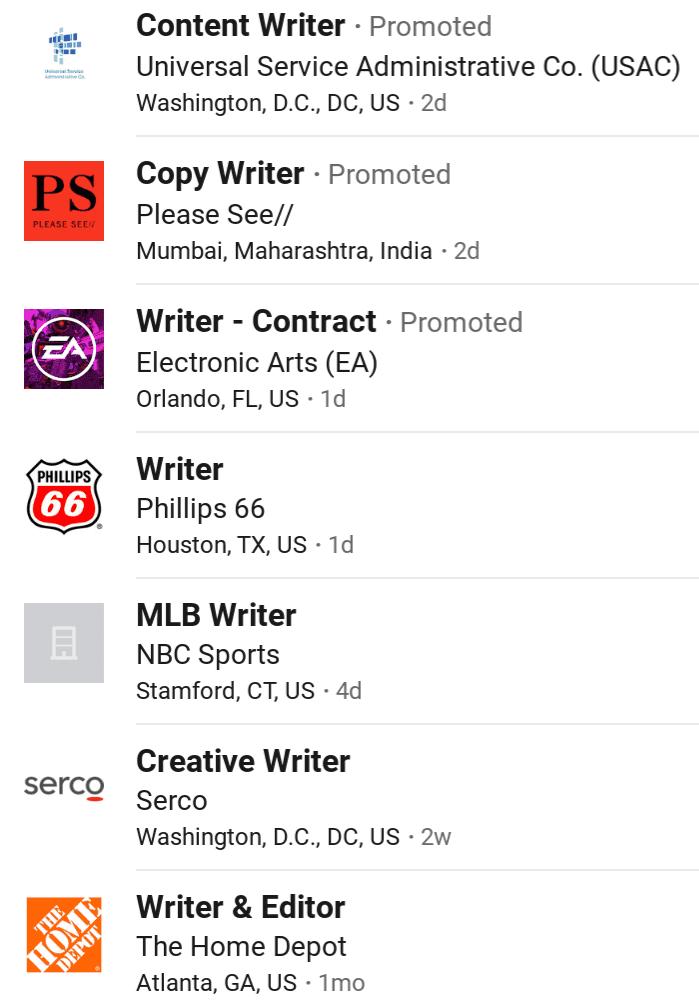 Beispiel für LinkedIn-Jobs für den Autor
