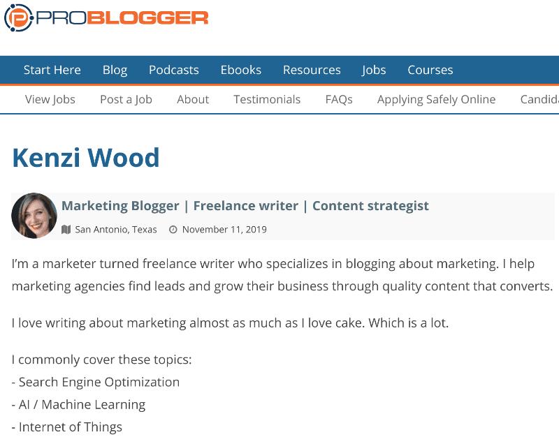 Beispiel für ein Problogger-Kandidaten-Dashboard