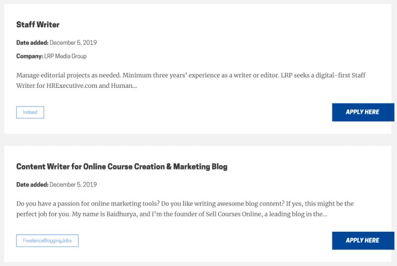 Beispiel-Stellenanzeigen von freelancewriting.com
