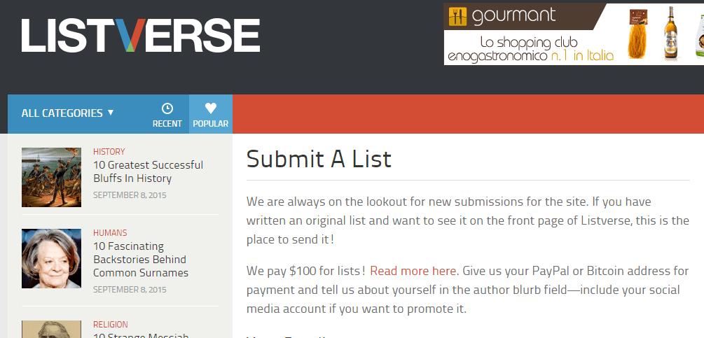 Screenshot der Liste der eingereichten Seiten