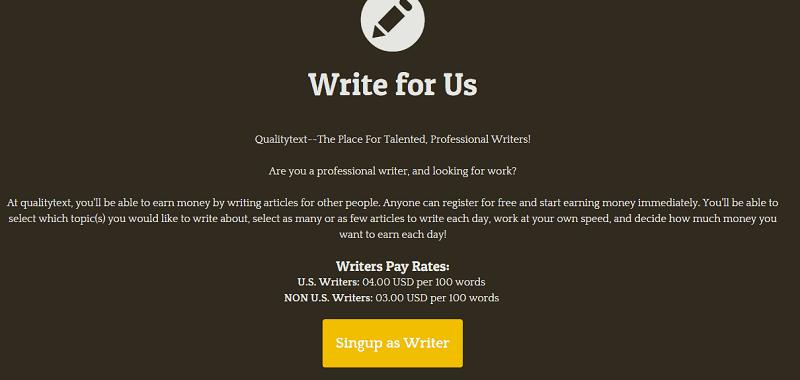 Screenshot der QualityText-Startseite