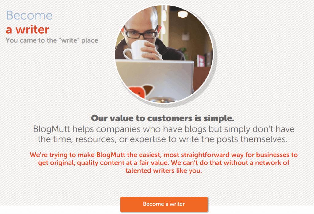 Werden Sie ein Autor bei BlogMutt - Screenshot