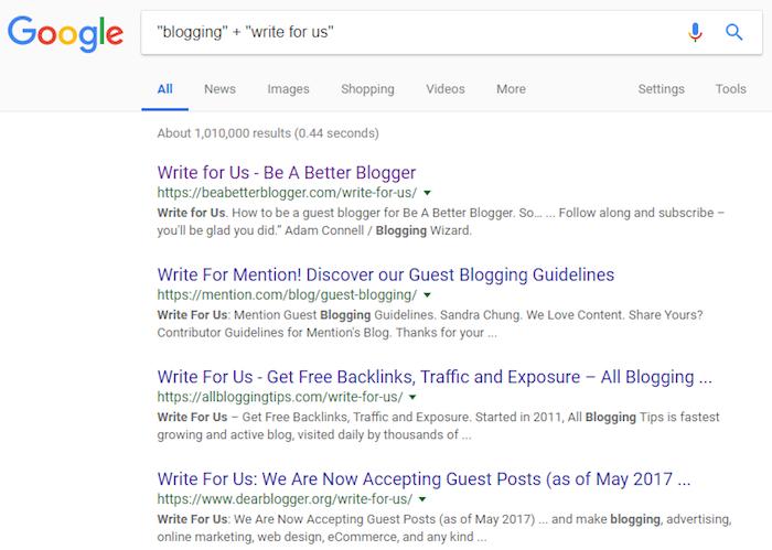 Verwenden Sie Google, um die besten Orte für Gastblogs zu finden.