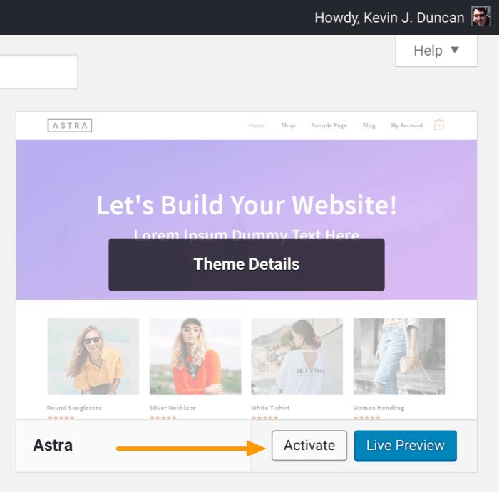 Blog starten - Aktiviere ein WordPress-Theme