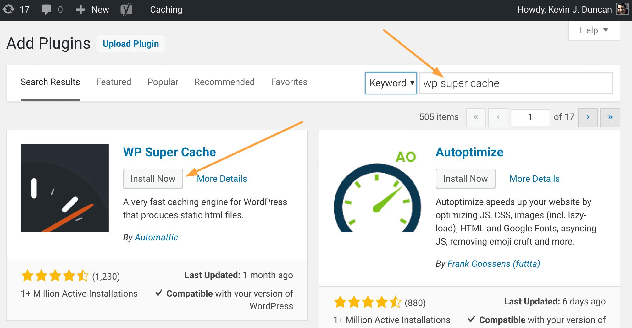Suchen und installieren Sie das WordPress Plugin
