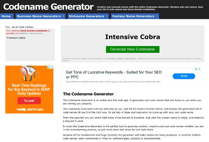 Blog Name Generator Codename Generator