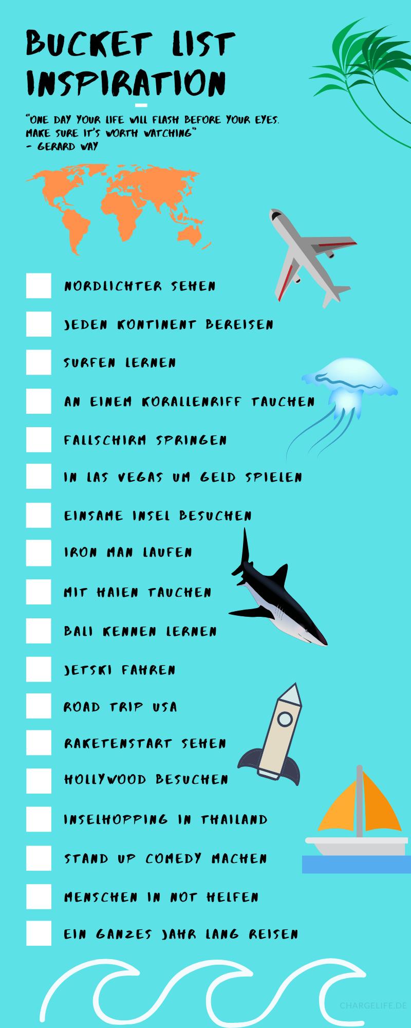 Bucket List Beispiel als Infografik Blau