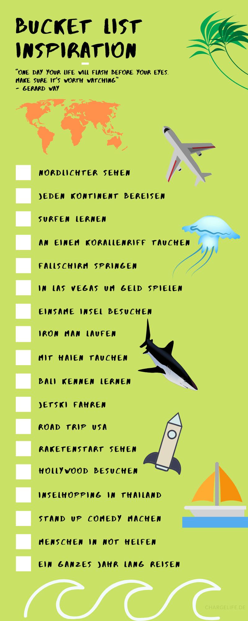Bucket List Beispiel als Infografik. Nimm diese Bucket List als Inspiration für deine Träume.