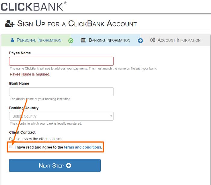 ClickBank-Konto-Anmeldeschritt 2