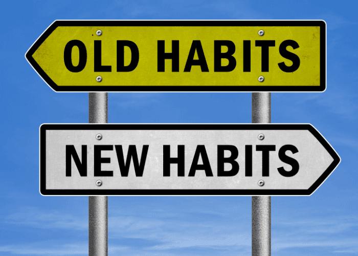 Ziele schreiben alte neue Gewohnheiten unterschreiben