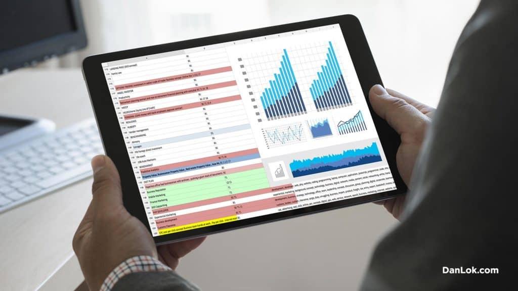 E-Commerce-Geschäftsinhaber, der die Analyse des Kundenverhaltens misst