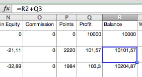 Laufbilanz in Excel