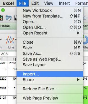Excel importieren
